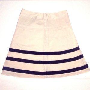 LOFT Beige A-Line Ribbon Striped Skirt Sz 0